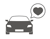 Car with a comic balloon and a heart  icon