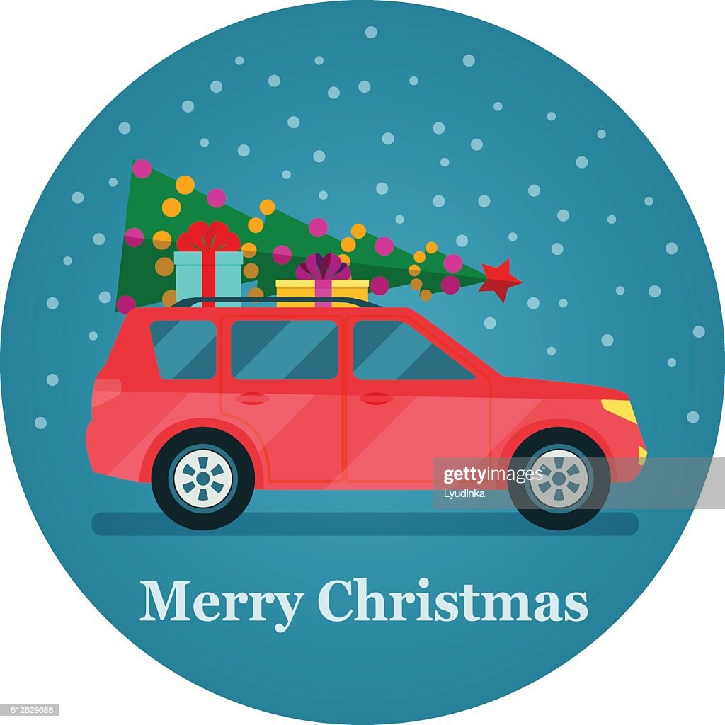 Car with christmas tree and gift boxes. Vector flat illustration