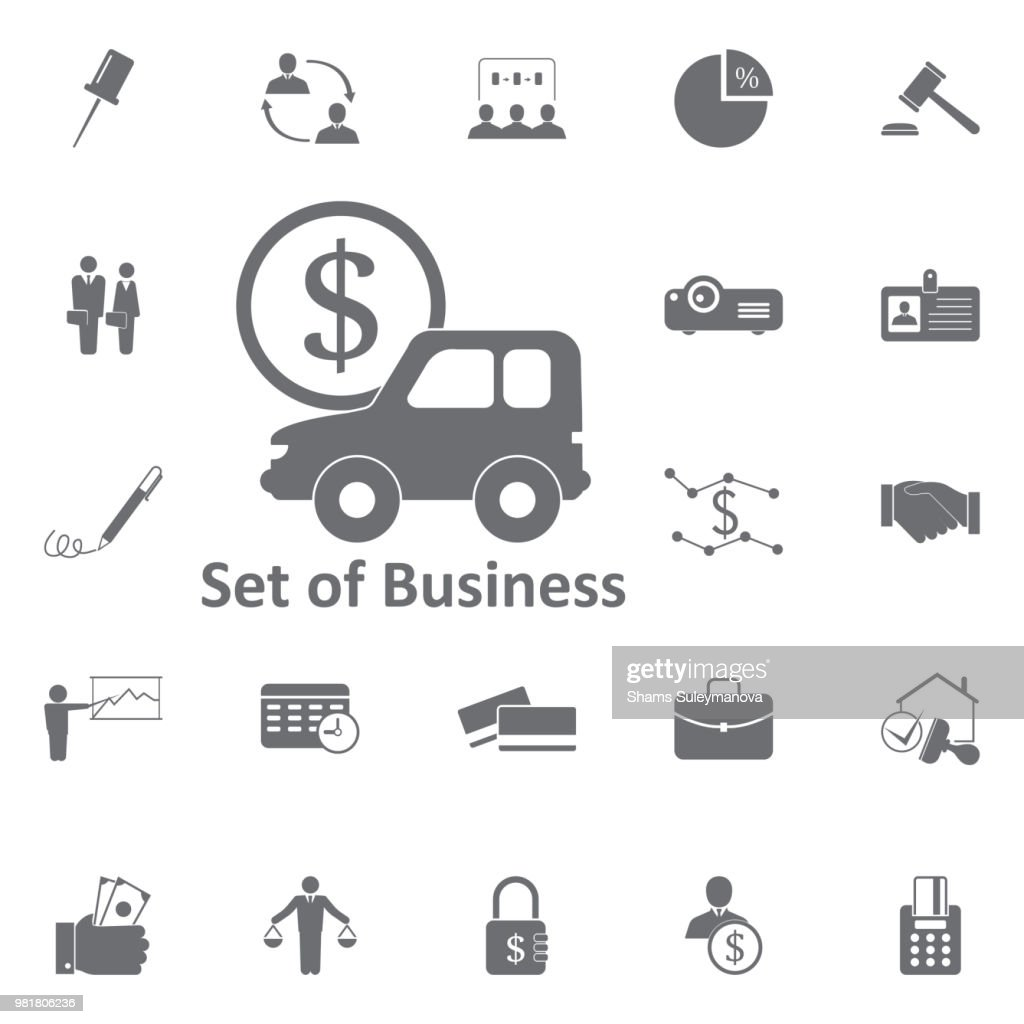car with dollar sign icon. Simple element illustration. Business