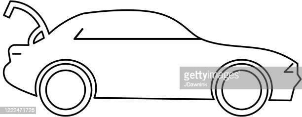 car with open trunk icon - car trunk stock illustrations