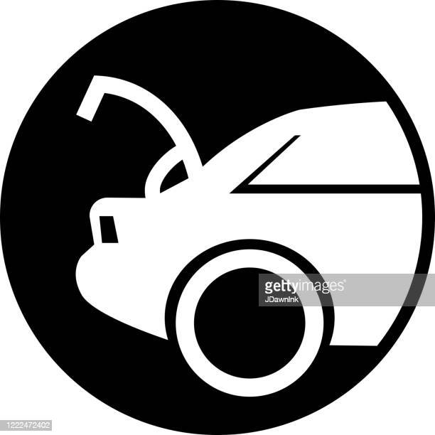 car with open trunk icon - curbside pickup stock illustrations