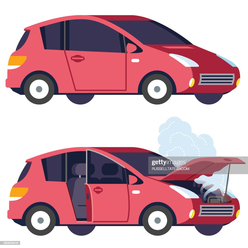 Car working and not working : stock illustration