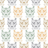 Caracal. Lynx. Hand drawn Wild Cat heads Vector Seamless pattern. Ethnic animal. Tribal patterned Cat