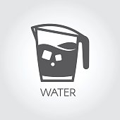 Carafe of water or other abstract beverage and ice cubes. Flat icon - cookery simplicity pictograph
