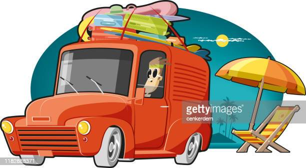 caravan at beach - car ownership stock illustrations, clip art, cartoons, & icons