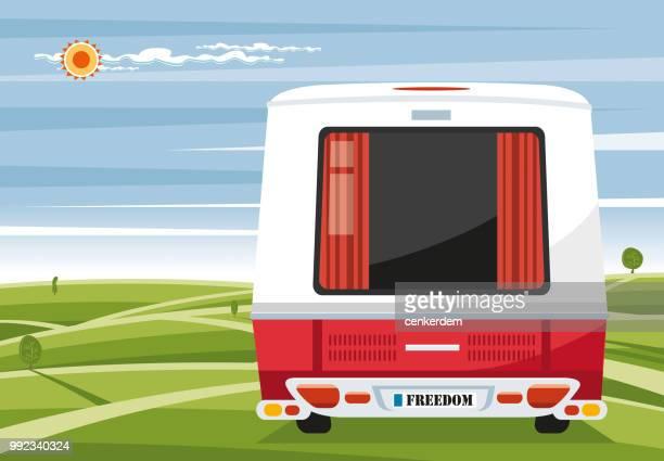 illustrations, cliparts, dessins animés et icônes de découvre de la caravane de retour - camping car