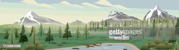 illustrations, cliparts, dessins animés et icônes de camping de caravane dans le panorama de montagne - camping car