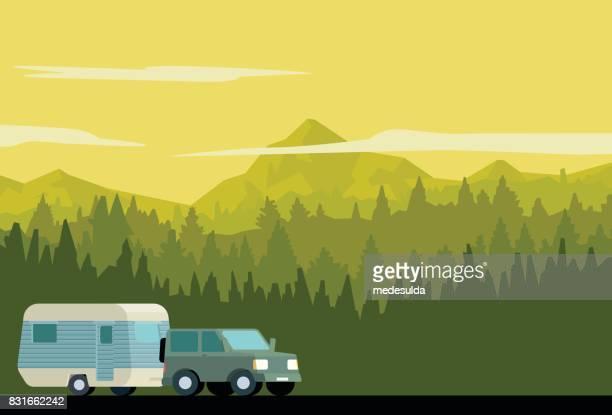 ilustraciones, imágenes clip art, dibujos animados e iconos de stock de bosque de caravana - autocaravana