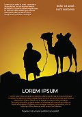 caravan in the desert, sunset background. Vector poster camel and bedouin in the Sahara