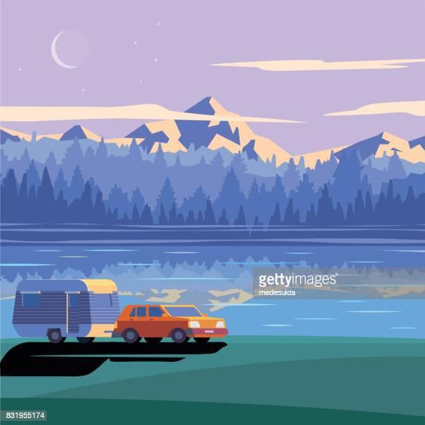 ilustraciones, imágenes clip art, dibujos animados e iconos de stock de lago de caravana - lago