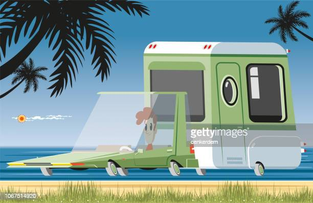 caravan on the beach - hatchback stock illustrations, clip art, cartoons, & icons