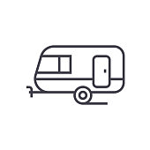 caravan vector line icon, sign, illustration on background, editable strokes