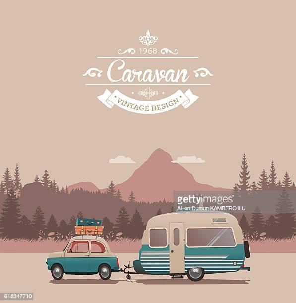 caravan vintage - human settlement stock illustrations, clip art, cartoons, & icons