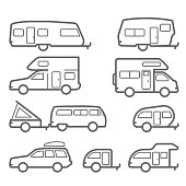 Caravans and camper trailers - road trip icons