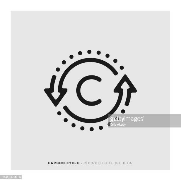 carbon cycle rounded line icon - photosynthesis stock illustrations