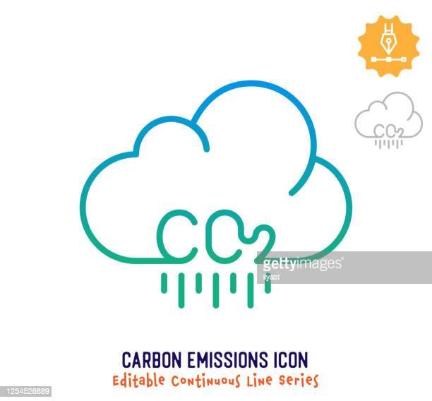 illustrations, cliparts, dessins animés et icônes de ligne de course modifiable en ligne continue des émissions de carbone - charbon
