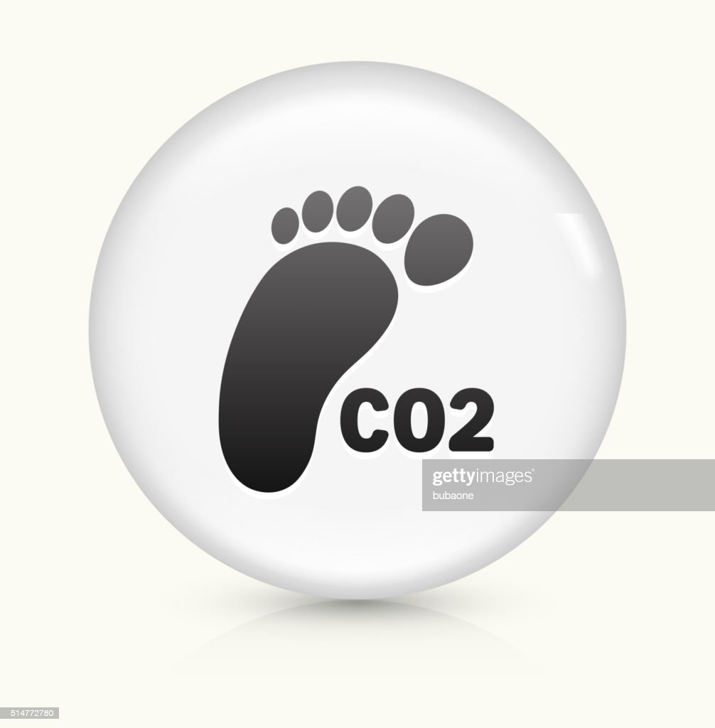carbon footprint icon on white round vector button