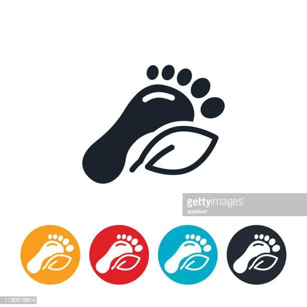 stockillustraties, clipart, cartoons en iconen met carbon footprint pictogram - koolstofvoetafdruk