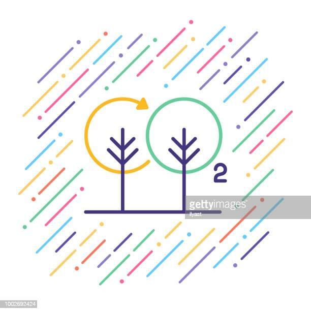 ilustraciones, imágenes clip art, dibujos animados e iconos de stock de icono de línea de huella de carbono - gas de efecto invernadero