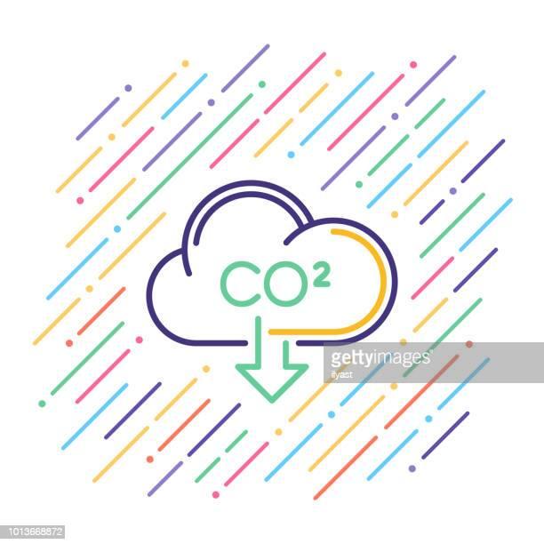 ilustrações, clipart, desenhos animados e ícones de ícone de linha de pegada de carbono - vapor forma da água