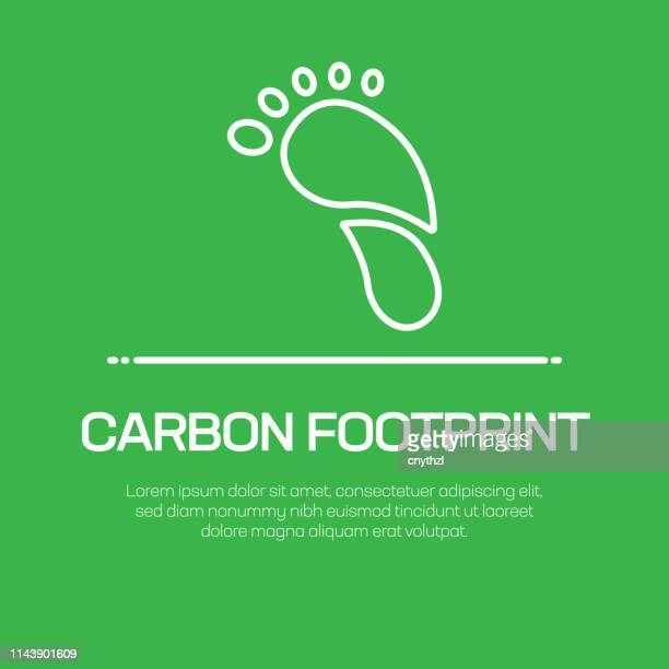 ilustraciones, imágenes clip art, dibujos animados e iconos de stock de icono de línea vectorial de huella de carbono: icono de línea delgada simple, elemento de diseño de calidad premium - gas de efecto invernadero
