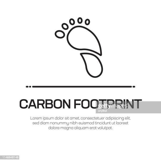 stockillustraties, clipart, cartoons en iconen met carbon footprint vector lijn icon-eenvoudige dunne lijn icoon, premium kwaliteit design element - koolstofvoetafdruk