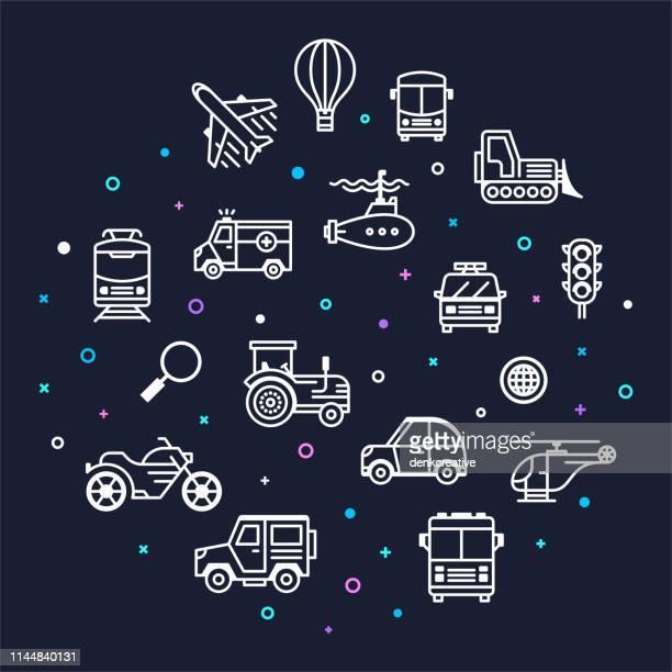 illustrations, cliparts, dessins animés et icônes de empreintes de carbone & véhicules automobiles memphis style contour infographie design - permis de conduire