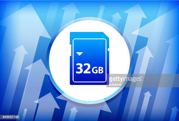 32GB SD Card Blue Up Arrows Background
