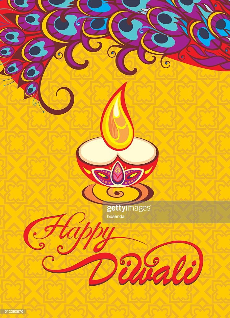 Card design for Diwali festival with beautiful lamps