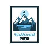 card, emblem, sticker National Park. Winter landscape, mountains, forest. Vector illustration, flat style
