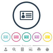 ID card flat color icons in round outlines