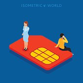 SIM card flat isometric concept web vector illustration.