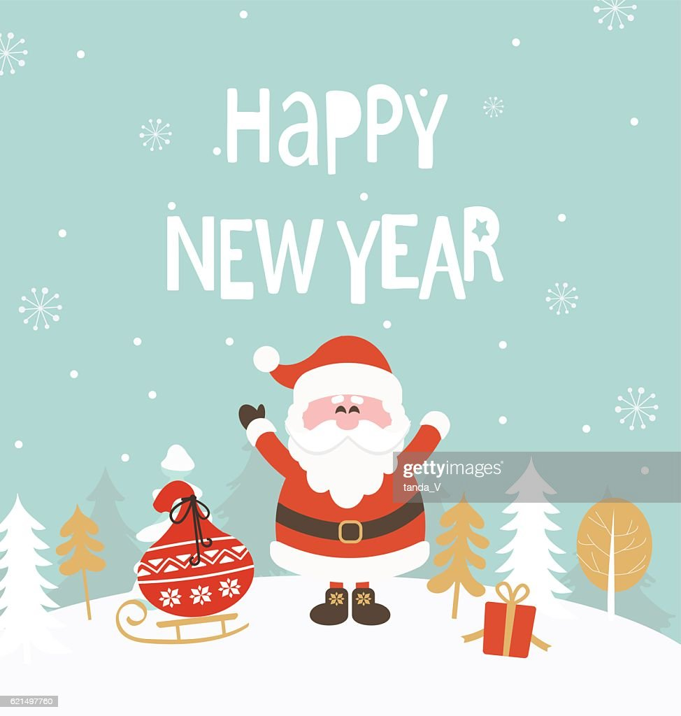 Card For New Year Vector Art Getty Images