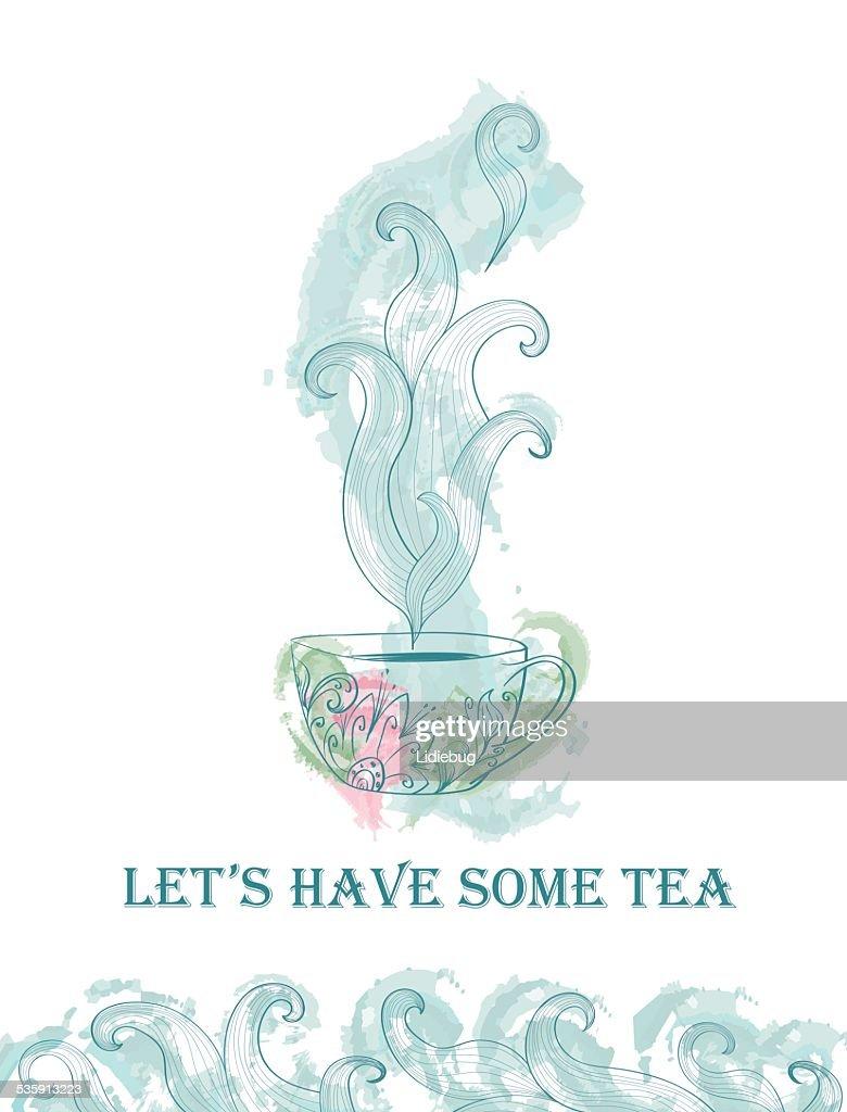 Card for tea party : Vector Art
