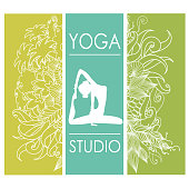 card for Woman yoga studio with floral ornament,
