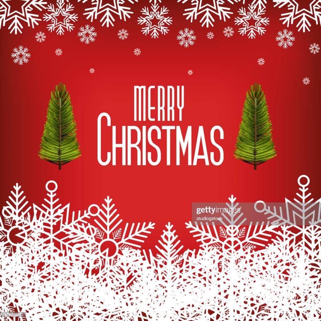 Grüße Frohe Weihnachten.Gruß Frohe Weihnachten Mit Schneeflocke Und Baum Grafik Karte Stock
