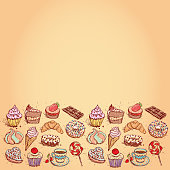 Card Hand drawn confectionery set. vector