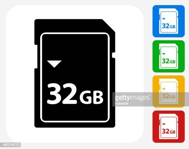 32GB SD Card Icon Flat Graphic Design