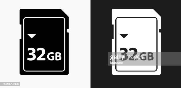 32GB SD Card Icon on Black and White Vector Backgrounds