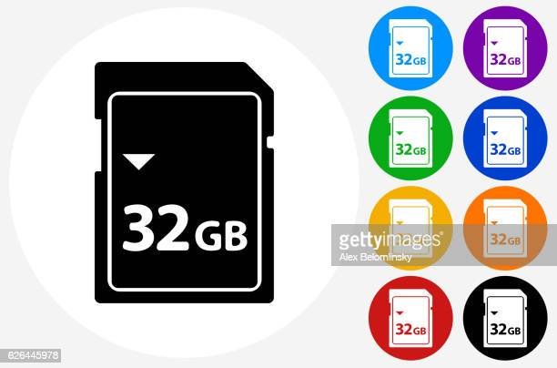 32GB SD Card Icon on Flat Color Circle Buttons