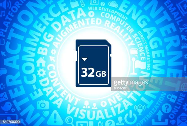32GB SD Card Icon on Internet Modern Technology Words Background