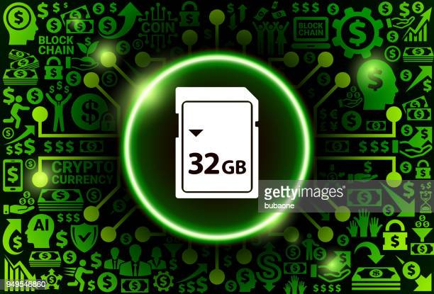 32GB SD Card Icon on Money and Cryptocurrency Background