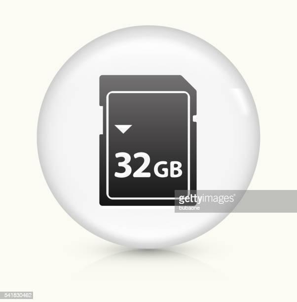 32GB SD Card icon on white round vector button