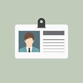 ID card, Identification card icon, flat style