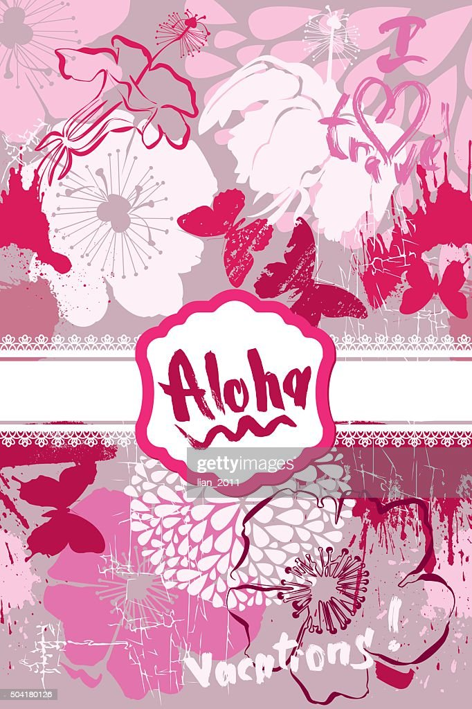 Card in grunge style with handwritten text ALOHA and frangipani