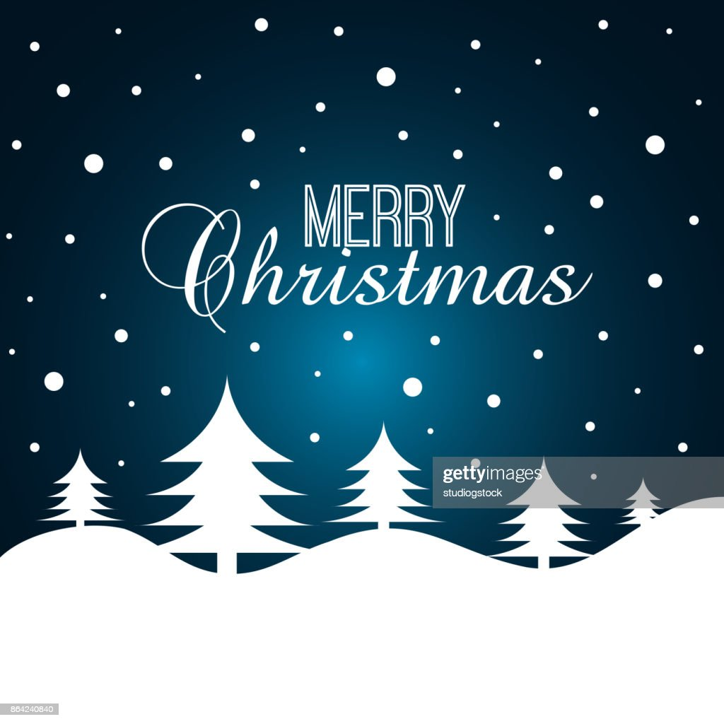 Frohe Weihnachten Mit Weihnachtsbaumgrafikkarte Vektorgrafik | Getty ...