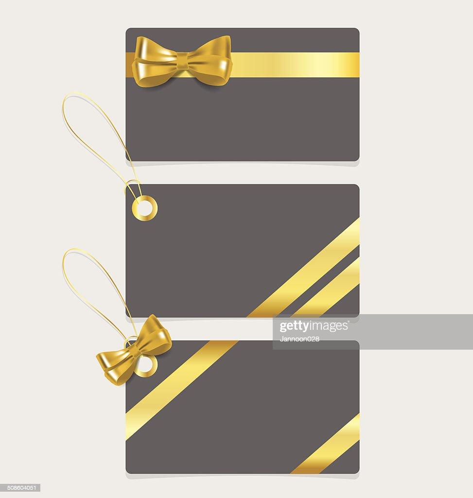 Nota de cartão com fitas.  Ilustração vetorial. : Arte vetorial