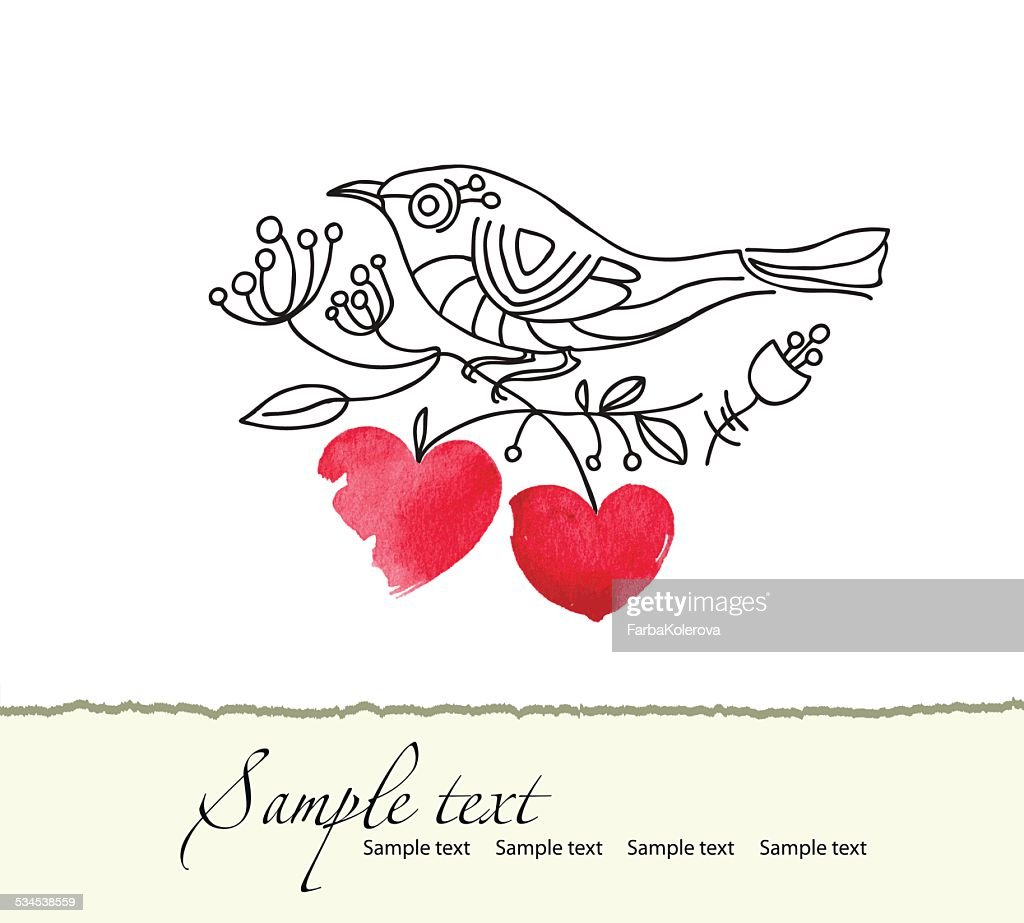 Card of a bird sitting on a  branch with hearts