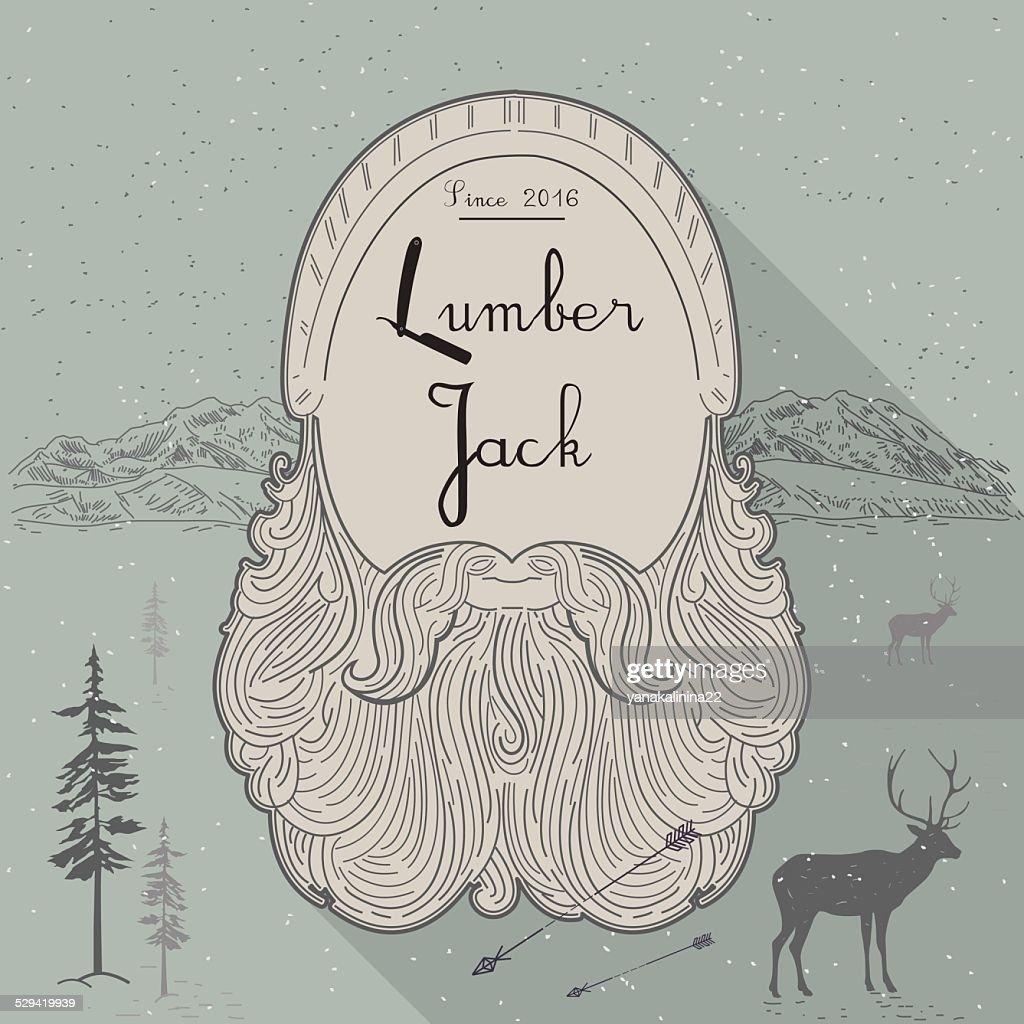 Card of lumberjack emblem and design elements. Vector illustration poster