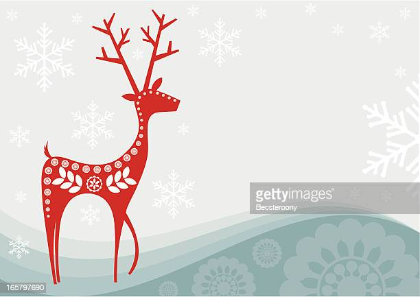 Card of red reindeer as snowflakes fall